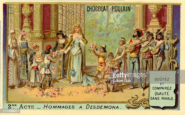 Shakespeare's Othello second act Caption reads 'Hommages a Desdemona' Illustration on cover of an old French Chocolate Box