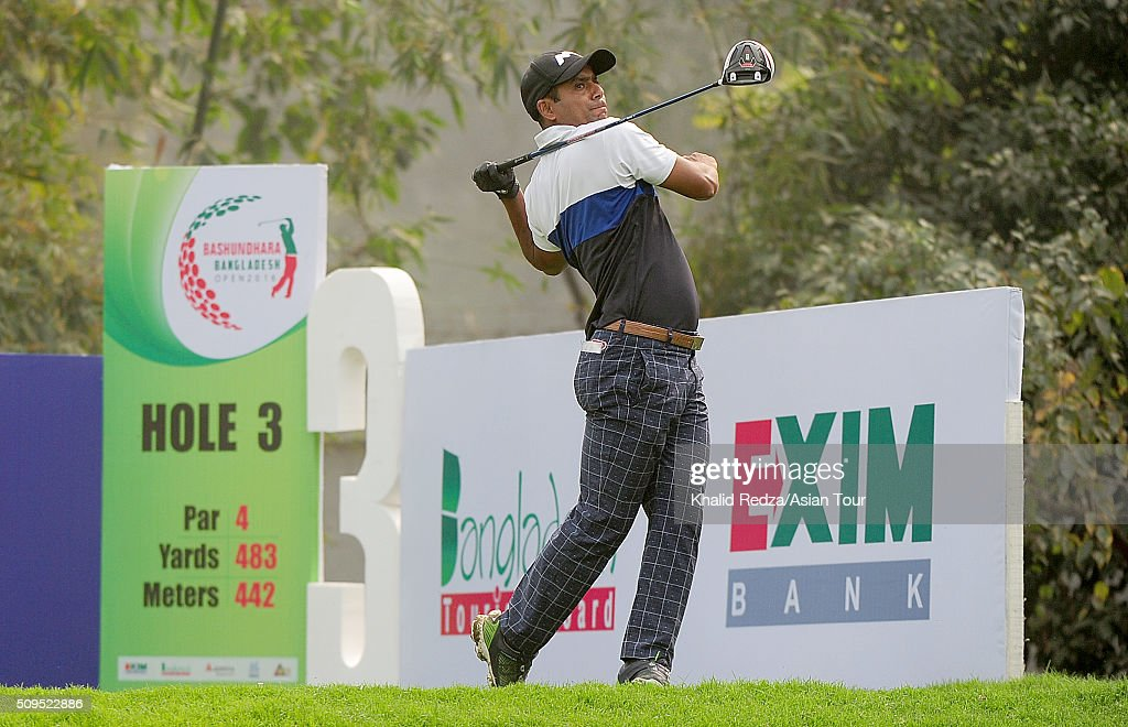 Shakhawat Sohel of Bangladesh plays a shot during round two of the Bashundhara Bangladesh Open at Kurmitola Golf Club on February 11, 2016 in Dhaka, Bangladesh.