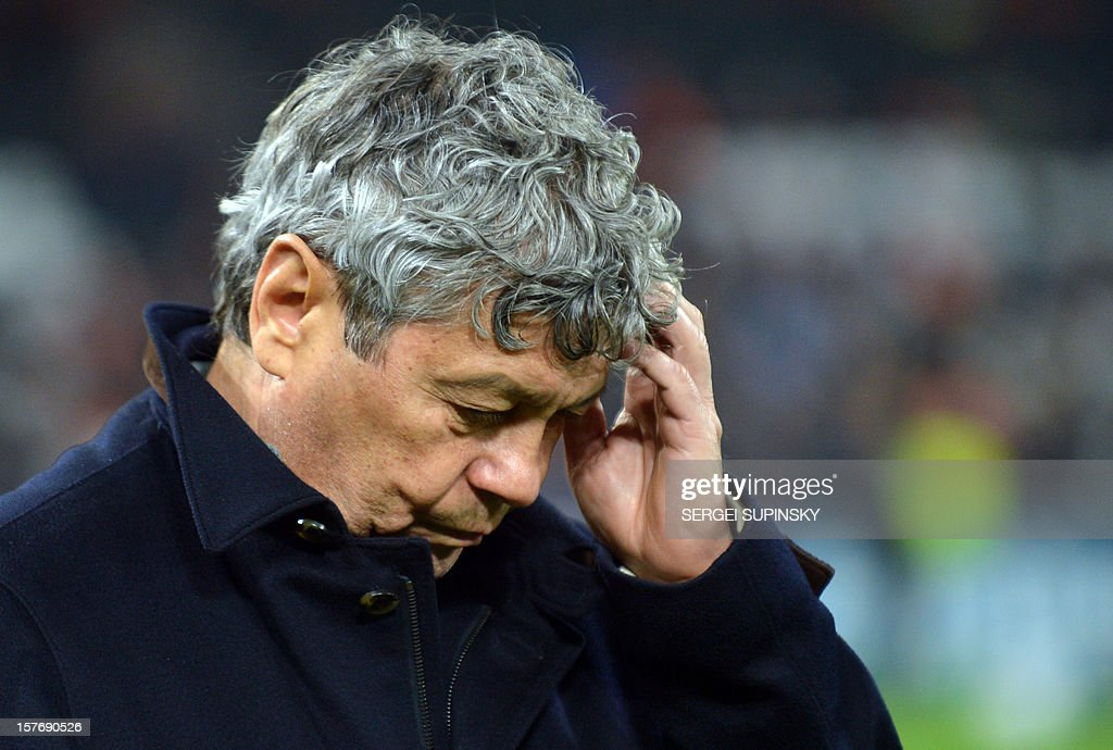 FC Shakhtar coach Mircea Lucescu reacts during the UEFA Champions League, Group E, football match between FC Shakhtar and Juventus, in Donetsk on December 5, 2012. Juventus won 1-0.