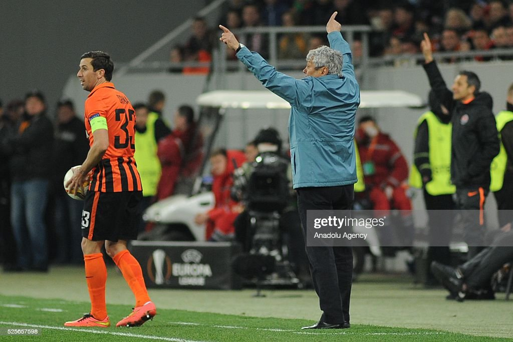 Shakhtar Donetsk head coach Mircea Lucescu gestures during the UEFA Europa League Semi-finals soccer match between Shakhtar Donetsk and Sevilla FC at Lviv Arena stadium on April 28, 2016, in Lviv, Ukraine.