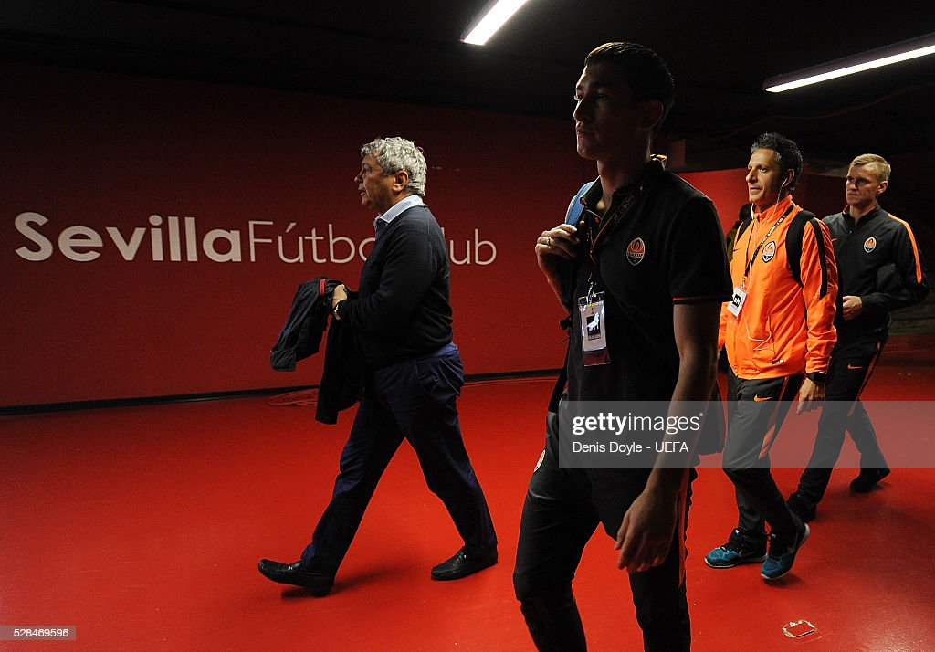 Shakhtar Donetsk manager <a gi-track='captionPersonalityLinkClicked' href=/galleries/search?phrase=Mircea+Lucescu&family=editorial&specificpeople=5511022 ng-click='$event.stopPropagation()'>Mircea Lucescu</a> arrives at the Sanchez Pizjuan stadium for the UEFA Europa League Semi Final second leg match between Sevilla and Shakhtar Donetsk at the Sanchez Pizjuan stadium on May 5, 2016 in Seville, Spain.