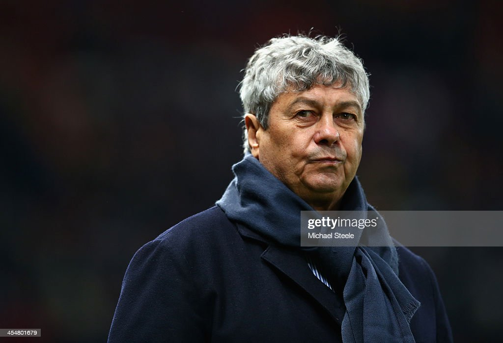 Shakhtar Donetsk Manager <a gi-track='captionPersonalityLinkClicked' href=/galleries/search?phrase=Mircea+Lucescu&family=editorial&specificpeople=5511022 ng-click='$event.stopPropagation()'>Mircea Lucescu</a> looks on prior to the UEFA Champions League Group A match between Manchester United and Shakhtar Donetsk at Old Trafford on December 10, 2013 in Manchester, England.