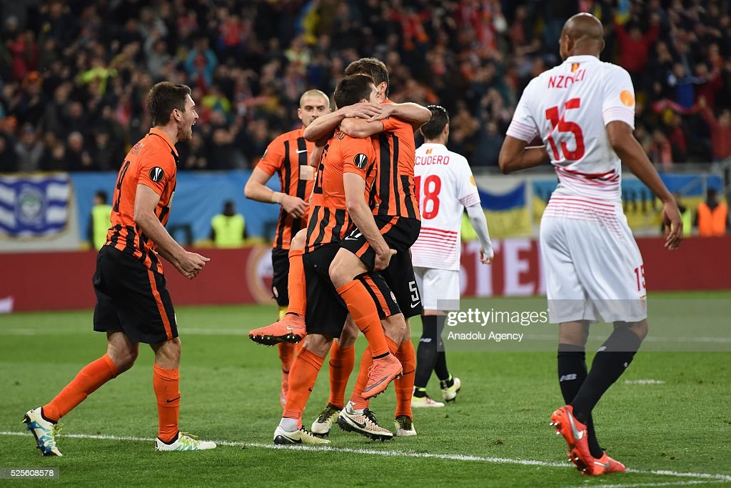 Shakhtar Donetsk players celebrate after scoring a goal during the UEFA Europa League Semi-finals soccer match between Shakhtar Donetsk and Sevilla FC at Lviv Arena stadium on April 28, 2016, in Lviv, Ukraine.