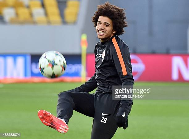 Shakhtar Donetsk's Brazilian forward Taison takes part in a training session in Lviv on on February 16 on the eve of the UEFA Champions League round...