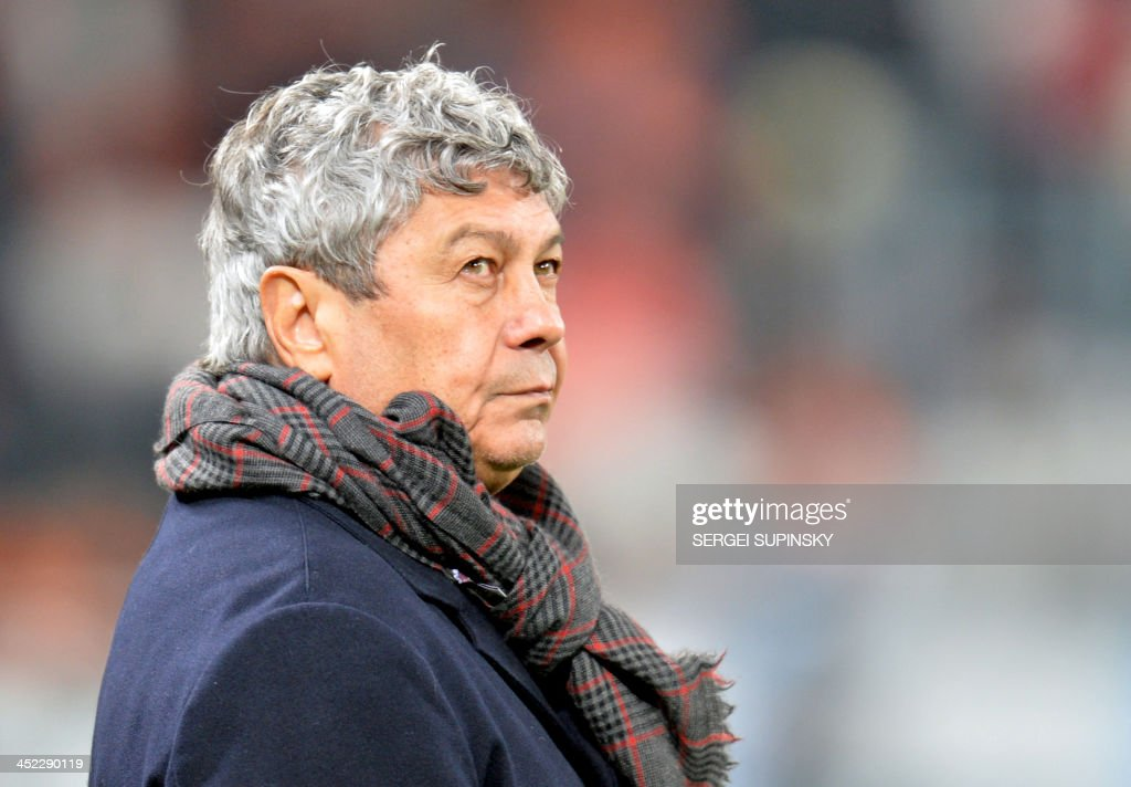 FC Shakhtar Donetsk's football coach Mircea Lucescu reacts during their UEFA Champions League Group A football against Real Sociedad in Donetsk on November 27, 2013.