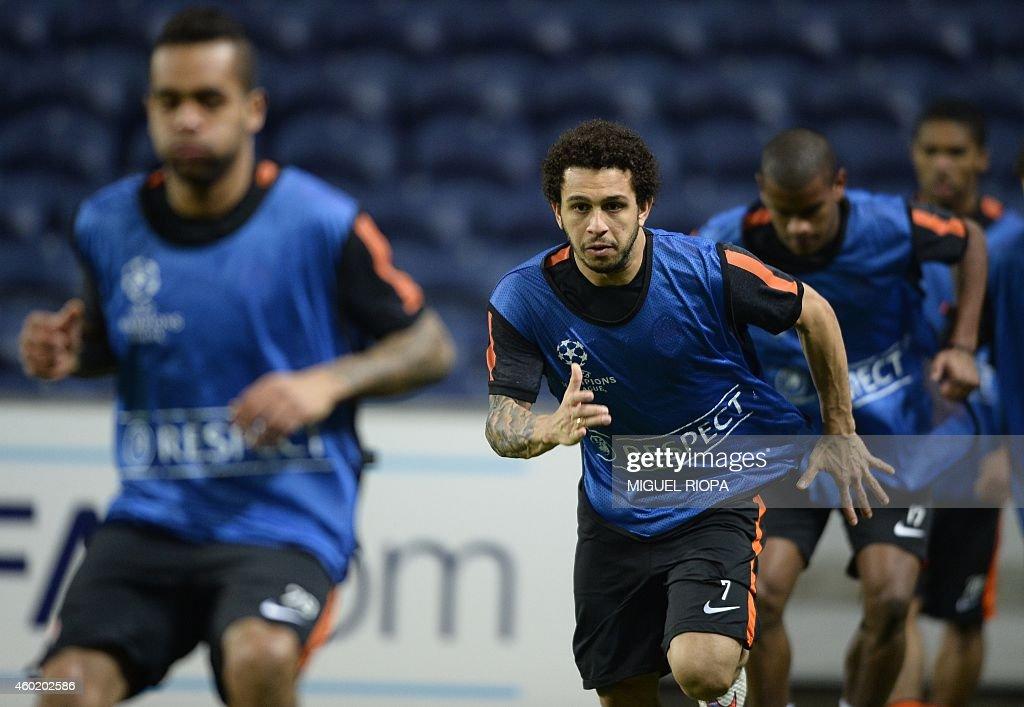 Shakhtar's Brazilian forward Wellington Nem takes part in a training session at the Dragao Stadium in Porto on December 9 on the eve of the UEFA...