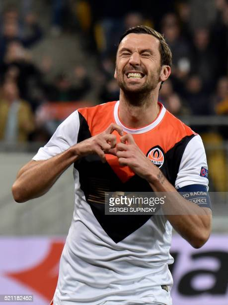 FC Shakhtar's Darijo Srna celebrates after scoring a goal during the UEFA Europa League quarter finals second leg football match between SC Braga and...
