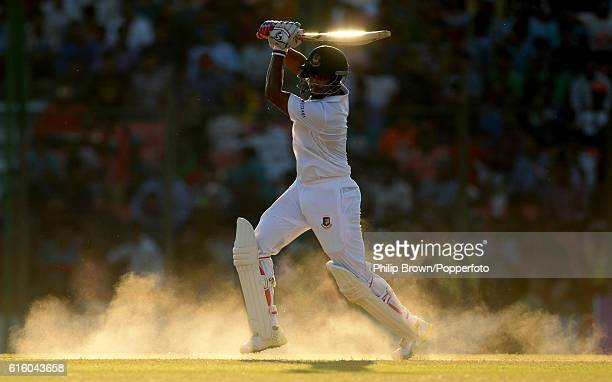 Shakib Al Hasan bats during the second day of the first test match between Bangladesh and England at Zohur Ahmed Chowdhury Stadium on October 21 2016...