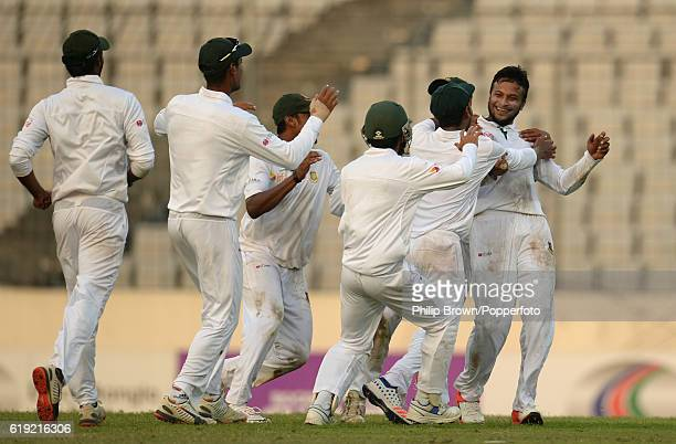 Shakib Al Hasan celebrates after dismissing Zafar Ansari during the third day of the second test match between Bangladesh and England at Shere Bangla...