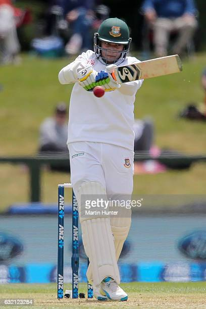 Shakib Al Hasan of Bangladesh bats during day one of the Second Test match between New Zealand and Bangladesh at Hagley Oval on January 20 2017 in...