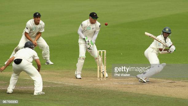 Shakib Al Hasan of Bangladesh bats during day three of the First Test match between New Zealand and Bangladesh at Seddon Park on February 17 2010 in...
