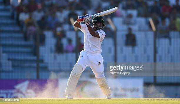 Shakib Al Hasan of Bangladesh bats during day two of the first Test between Bangladesh and England at Zohur Ahmed Chowdhury Stadium on October 21...