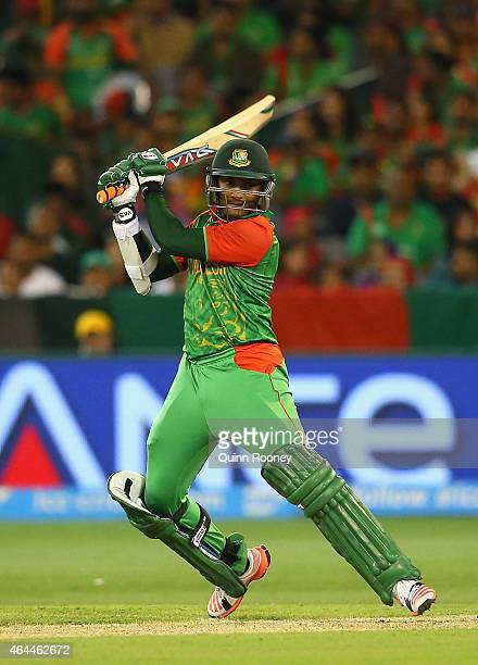 Shakib Al Hasan of Bangladesh bats during the 2015 ICC Cricket World Cup match between Sri Lanka and Bangladesh at Melbourne Cricket Ground on...