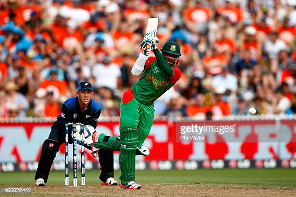 Shakib Al Hasan of Bangladesh bats during the 2015 ICC Cricket World Cup match between Bangladesh and New Zealand at Seddon Park on March 13 2015 in...