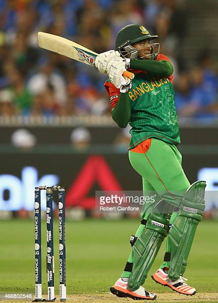 Shakib Al Hasan of Bangladesh bats during the 2015 ICC Cricket World Cup match between India and Bangldesh at Melbourne Cricket Ground on March 19...