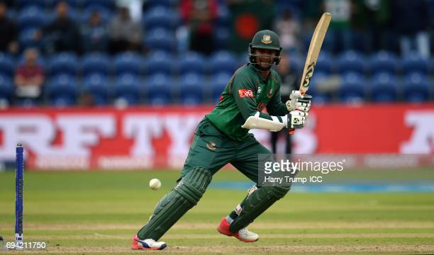 Shakib Al Hasan of Bangladesh bats during the ICC Champions Trophy match between New Zealand and Bangladesh at the SWALEC Stadium on June 9 2017 in...