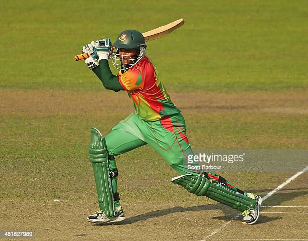 Shakib Al Hasan of Bangladesh bats during the ICC World Twenty20 Bangladesh 2014 match between Bangladesh and Australia at ShereBangla Mirpur Stadium...