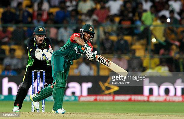 Shakib Al Hasan of Bangladesh bats during the ICC World Twenty20 India 2016 match between Australia and Bangladesh at the Chinnaswamy stadium on...