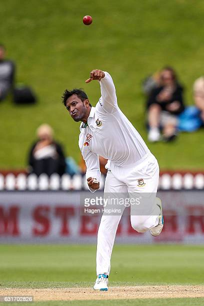 Shakib Al Hasan of Bangladesh bowls during day four of the First Test match between New Zealand and Bangladesh at Basin Reserve on January 15 2017 in...