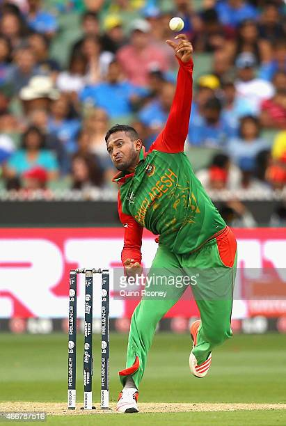 Shakib Al Hasan of Bangladesh bowls during the 2015 ICC Cricket World Cup match between India and Bangldesh at Melbourne Cricket Ground on March 19...