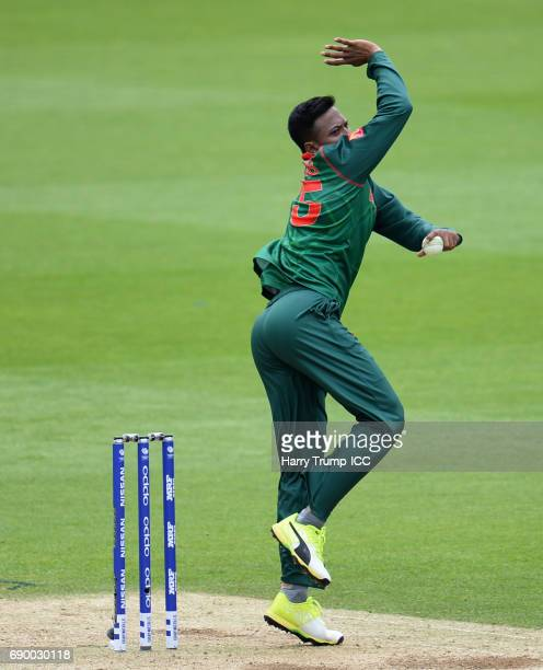 Shakib Al Hasan of Bangladesh bowls during the ICC Champions Trophy Warmup match between India and Bangladesh at the Kia Oval on May 30 2017 in...
