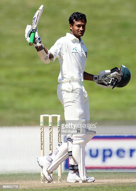 Shakib Al Hasan of Bangladesh celebrates his century during day five of the First Test match between New Zealand and Bangladesh at Seddon Park on...