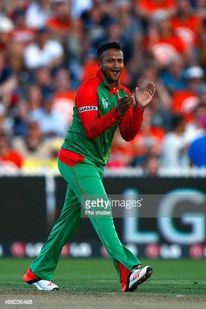 Shakib Al Hasan of Bangladesh celebrates his wicket of Brendon McCullum of New Zealand during the 2015 ICC Cricket World Cup match between Bangladesh...