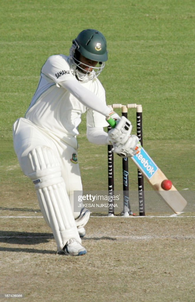 Shakib Al Hasan of Bangladesh in action on April 25, 2013 during the first of the second and final cricket Test between Zimbabwe and Bangladesh at the Harare Sports Club. AFP PHOTO/Jekesai Njikizana.
