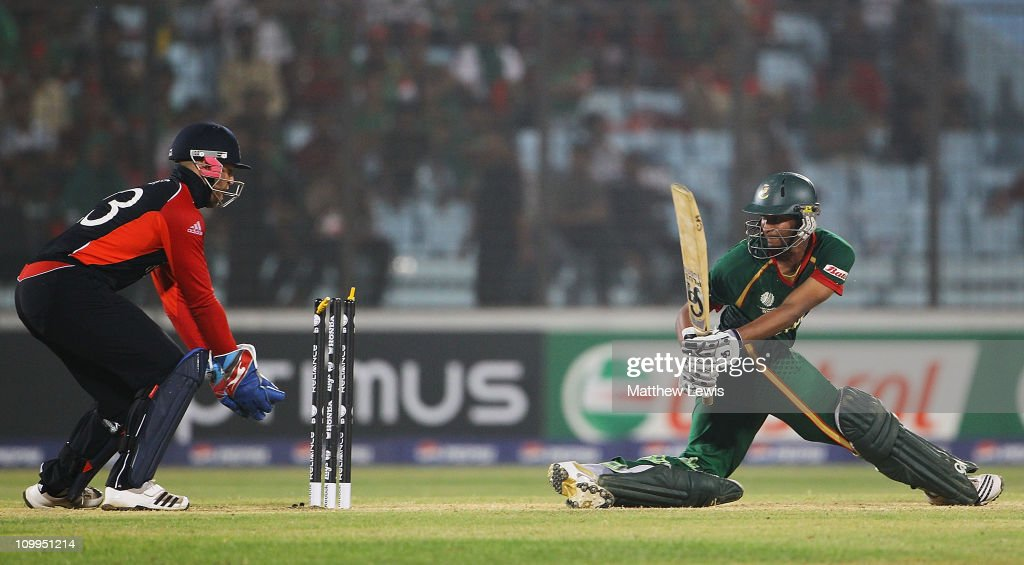 <a gi-track='captionPersonalityLinkClicked' href=/galleries/search?phrase=Shakib+Al+Hasan&family=editorial&specificpeople=4145971 ng-click='$event.stopPropagation()'>Shakib Al Hasan</a> of Bangladesh looks on, after he is bowled by Graeme Swann of England during the 2011 ICC World Cup Group B match between Bangladesh and England at Zohur Ahmed Chowdhury Stadium on March 11, 2011 in Chittagong, Bangladesh.