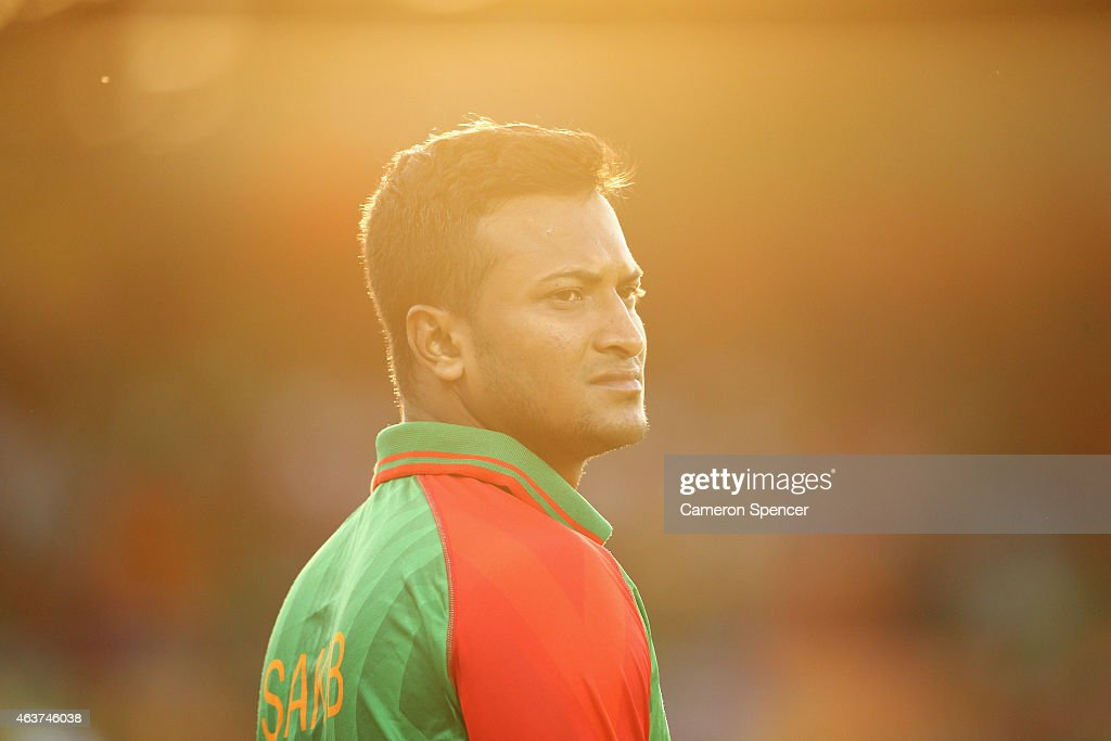 <a gi-track='captionPersonalityLinkClicked' href=/galleries/search?phrase=Shakib+Al+Hasan&family=editorial&specificpeople=4145971 ng-click='$event.stopPropagation()'>Shakib Al Hasan</a> of Bangladesh looks on during the 2015 ICC Cricket World Cup match between Bangladesh and Afghanistan at Manuka Oval on February 18, 2015 in Canberra, Australia.