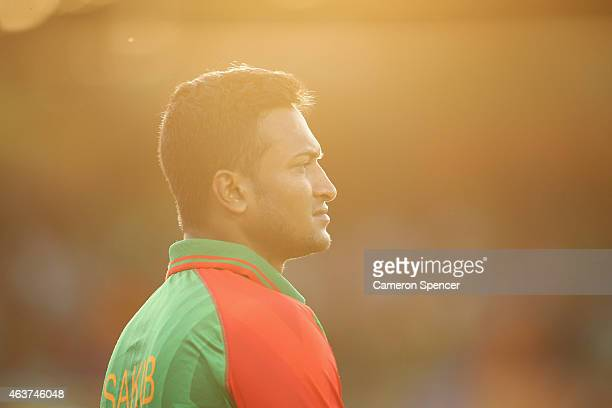 Shakib Al Hasan of Bangladesh looks on during the 2015 ICC Cricket World Cup match between Bangladesh and Afghanistan at Manuka Oval on February 18...