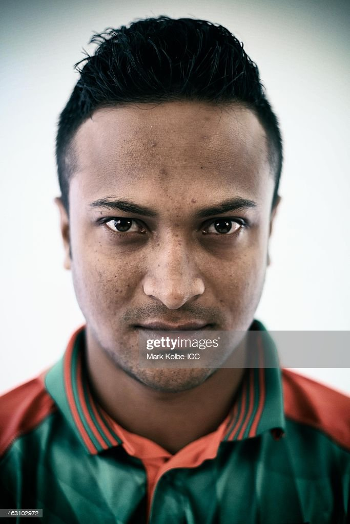 <a gi-track='captionPersonalityLinkClicked' href=/galleries/search?phrase=Shakib+Al+Hasan&family=editorial&specificpeople=4145971 ng-click='$event.stopPropagation()'>Shakib Al Hasan</a> of Bangladesh poses during the Bangladesh 2015 ICC Cricket World Cup Headshots Session at the Sheraton Hotel on February 8, 2015 in Sydney, Australia.