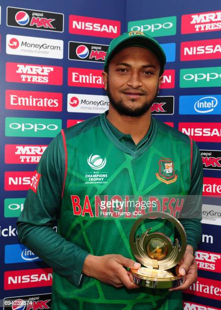Shakib Al Hasan of Bangladesh poses with the man of the match award during the ICC Champions Trophy match between New Zealand and Bangladesh at the...