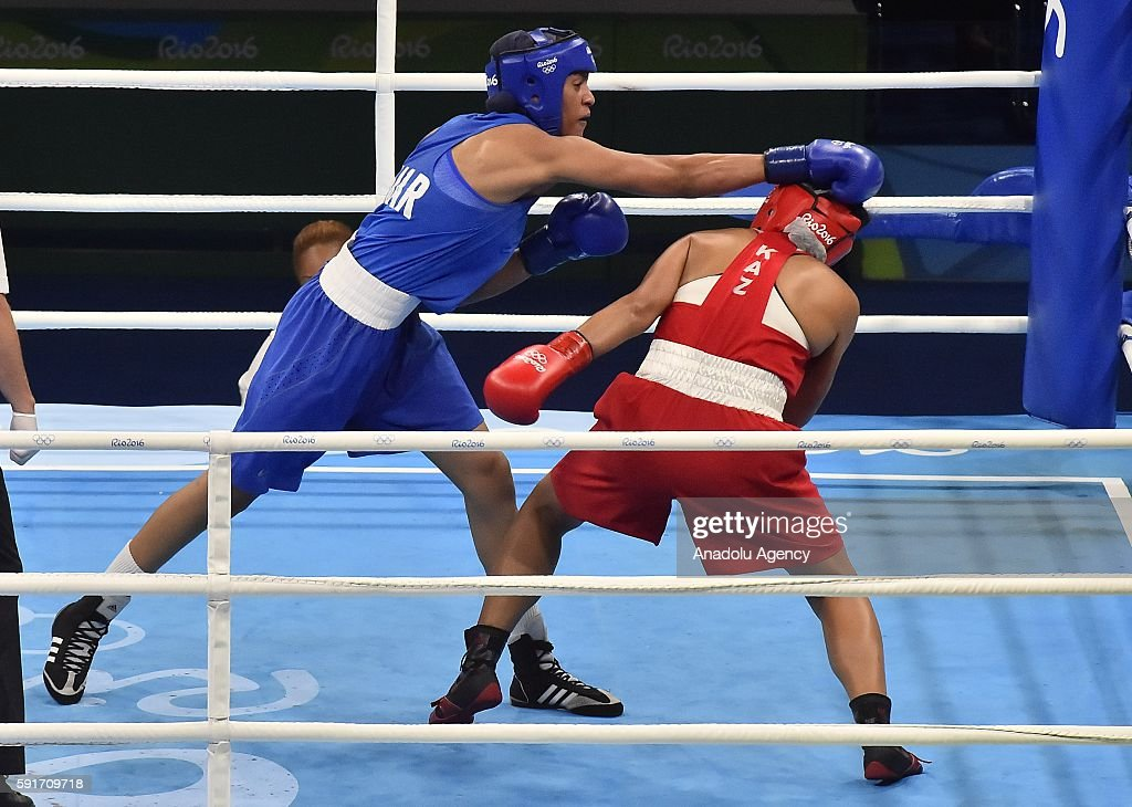 Shakimova Dariga of Kazakhstan fights Mardi Khadija of Morocco in their Womens Middle 6975kg Quarterfinal 2 on Day 12 of the 2016 Rio Olympics at...