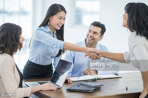 Shaking Hands Before an Interview
