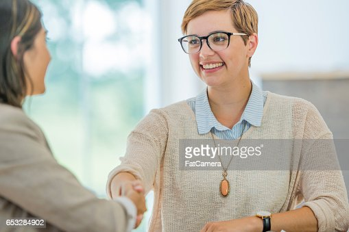 Shaking Hands Before an Interview : Foto stock