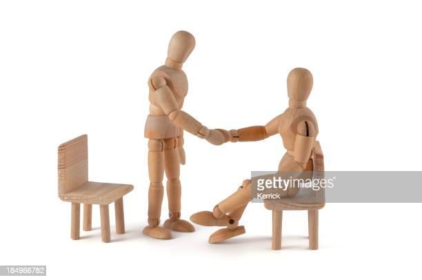 Dar um aperto de mão-Manequim de madeira Reunião