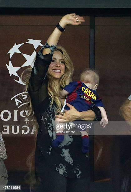 Shakira and her younger son Sasha Pique celebrate the victory after the UEFA Champions League Final between Juventus Turin and FC Barcelona at...