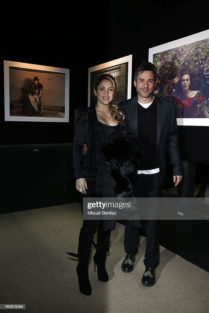<a gi-track='captionPersonalityLinkClicked' href=/galleries/search?phrase=Shakira&family=editorial&specificpeople=160650 ng-click='$event.stopPropagation()'>Shakira</a> and Jaume de la Iguana attend the 'Jaime de la Iguana Exhibition' at Palau Robert on February 28, 2013 in Barcelona, Spain.