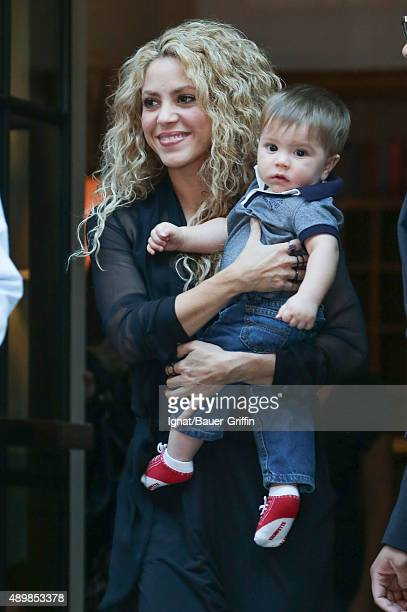 Shakira and Sasha Pique Mebarak are seen on September 24 2015 in New York City