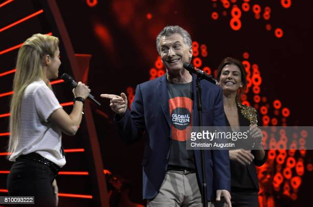 Shakira Argentine President Mauricio Macri and his wife Juliana Awada attend the Global Citizen Festival at the Barclaycard Arena on July 6 2017 in...