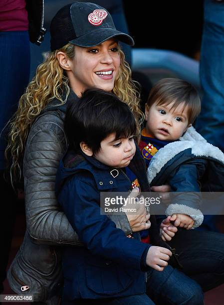 Shakira carries her children Milan and Sasha ahead of the La Liga match between FC Barcelona and Real Sociedad de Futbol at Camp Nou on November 28...