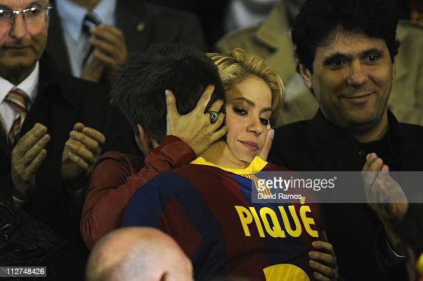 Shakira comforts Gerard Pique of Barcelona after beig defeated at the end of the Copa del Rey Final between Real Madrid and Barcelona at Estadio...