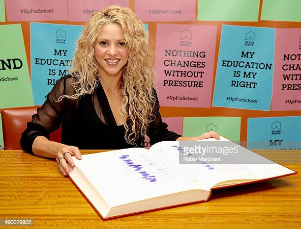 Shakira delivers the #UpForSchool petition with 10 million signatures of people who over the last year have stood up for the 59 million children...