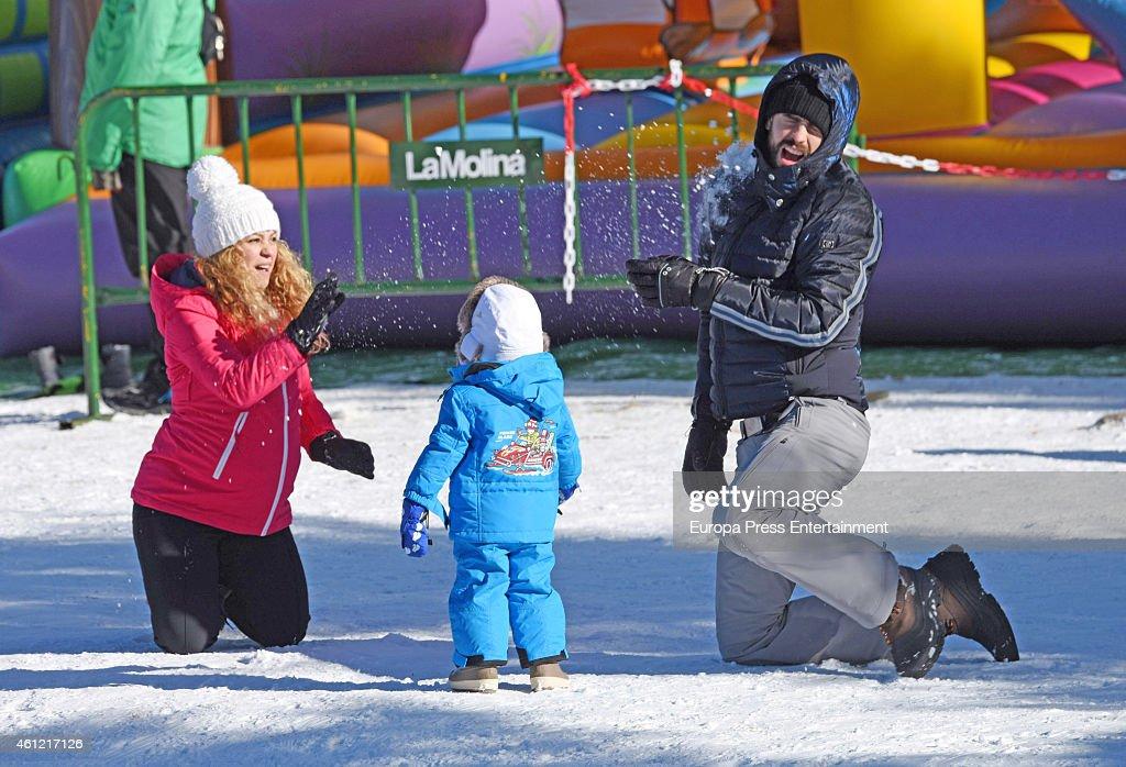 Shakira Gerard Pique and their son Milan Pique are seen on December 30 2014 in Girona Spain