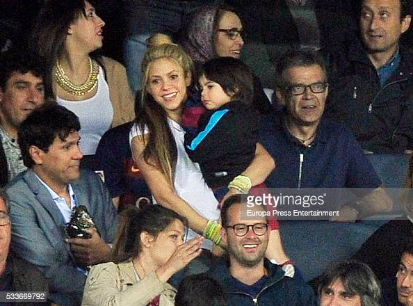 Shakira her son Milan Pique her brother Tonino Mebarak and Pique's father Joan Pique attend the Spanish King's Cup final match FC Barcelona vs...