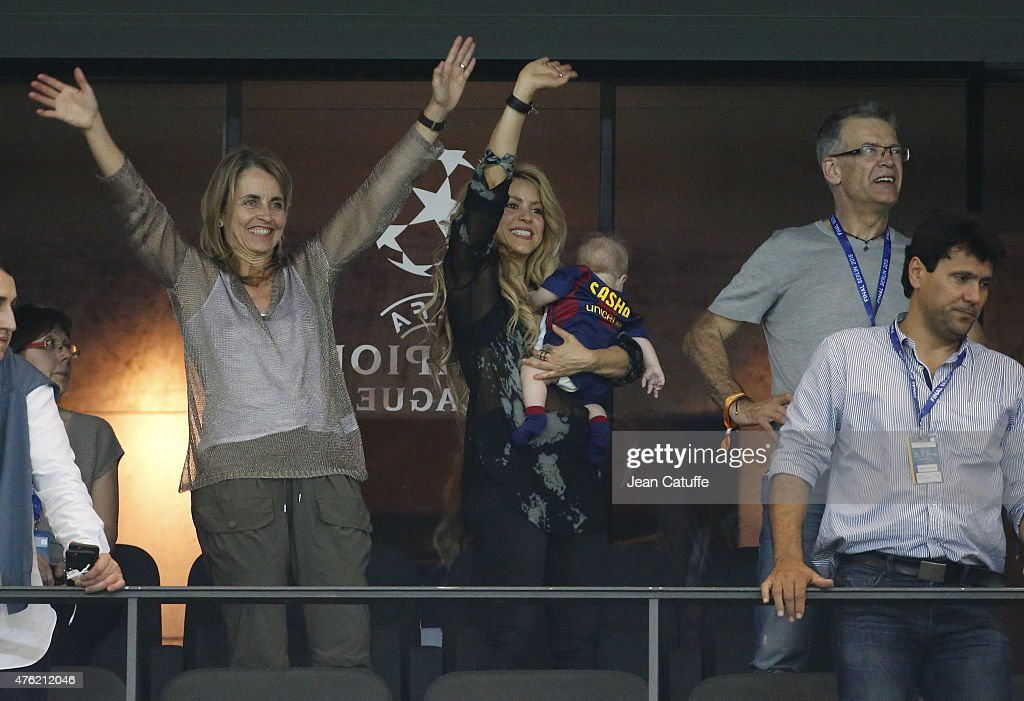 Shakira, her younger son Sasha Pique and Pique's parents, Montserrat Bernabeu and Joan Pique celebrate the victory after the UEFA Champions League Final between Juventus Turin and FC Barcelona at Olympiastadion on June 6, 2015 in Berlin, Germany.