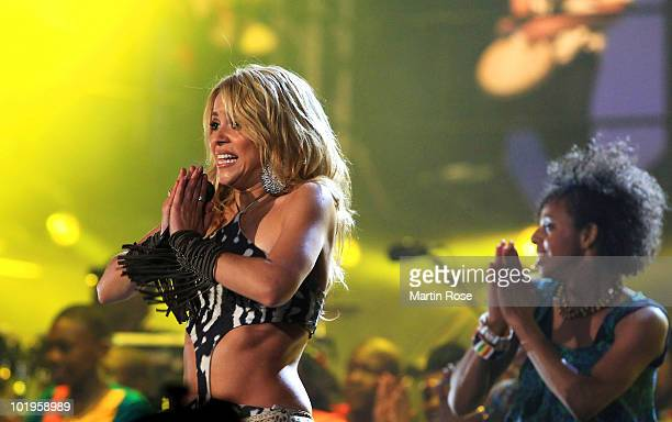 Shakira performs a song during the kickoff celebration concert for the 2010 FIFA World Cup at the Orlando Stadium on June 10 2010 in Soweto South...