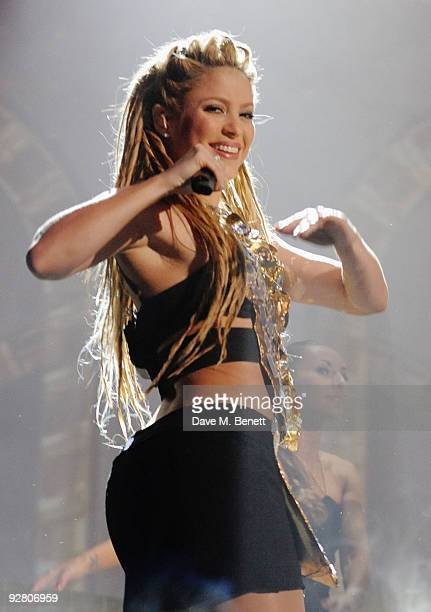 Shakira performs during the 2009 MTV Europe Music Awards held at the O2 Arena on November 5 2009 in Berlin Germany
