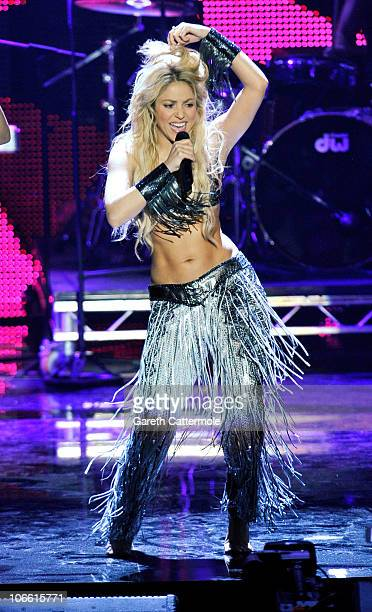 Shakira performs during the MTV Europe Music Awards 2010 live show at La Caja Magica on November 7 2010 in Madrid Spain